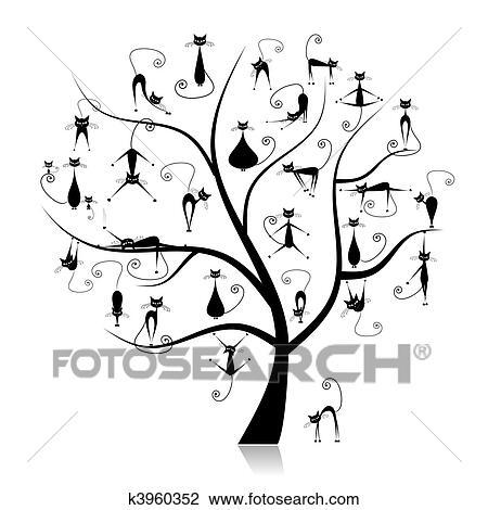 Clipart Familia Gatos árbol 27 Negro Siluetas Divertido