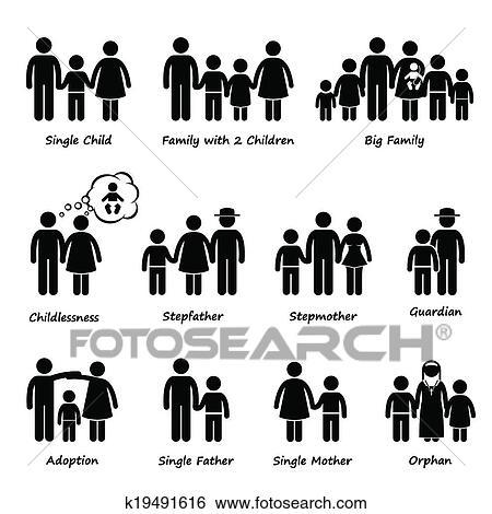 Clipart Famille clipart - famille, taille, type, de, relation k19491616 - recherchez
