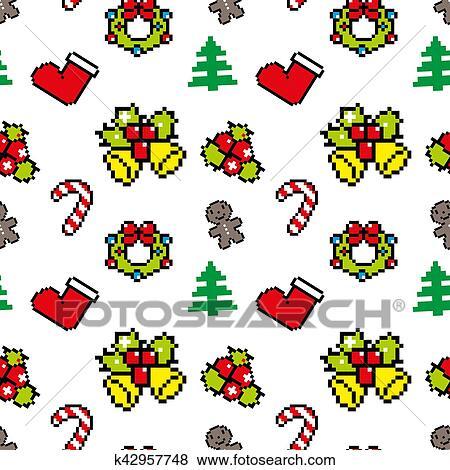Fond à Noël Symboles Pixel Art Hiver Modèle Blanc Couleur Banque Dillustrations