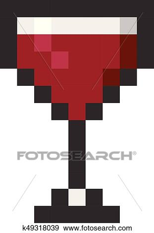 Glass Wine Pixel Art Cartoon Retro Game Style Clip Art