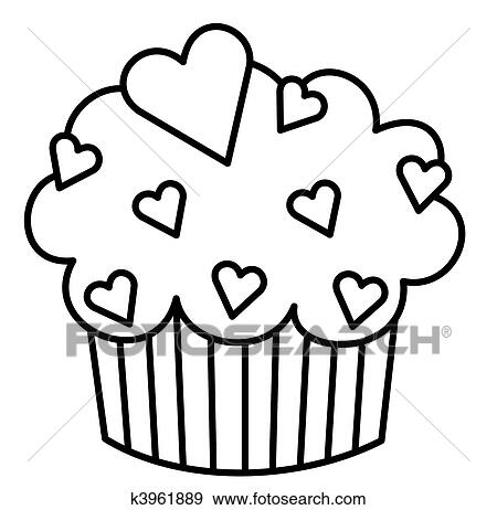 Heart Cupcake Stock Illustration K3961889