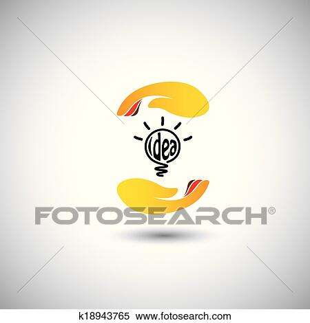 Clipart - idee, glühbirne, &, hand, für, schutz, -, begriff, vektor ...