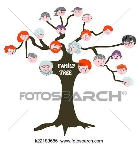 Clipart arbre g n alogique rigolote dessin anim illustration k22183686 recherchez des - Arbre genealogique dessin ...