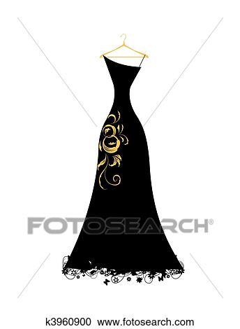 Kleiderbügel clipart  Clipart - abendkleid, schwarz, auf, kleiderbügel k3960900 - Suche ...