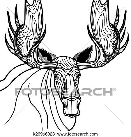 Clipart Of Moose Head Vector Animal Illustrati K26956023