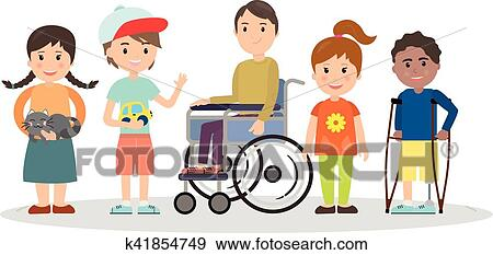 clip art of special needs children with friends k41854749 search rh fotosearch com special needs clip art free special needs clip art free