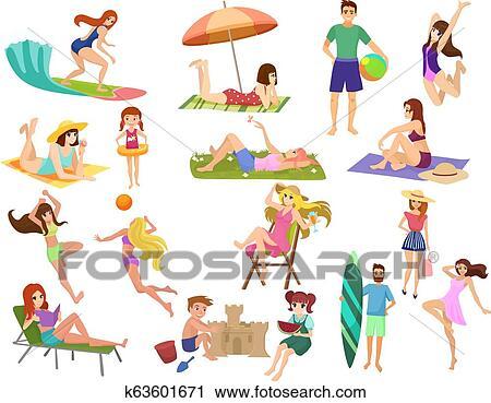 Summer Beach Cartoon Anime Vector People Outdoor Activities Man