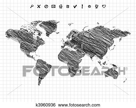 Clip art of world map drawing pencil sketch k3960936 search world map drawing pencil sketch gumiabroncs Gallery