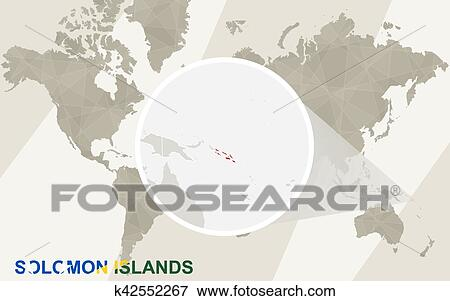 Solomon Islands World Map.Clip Art Of Zoom On Solomon Islands Map And Flag World Map