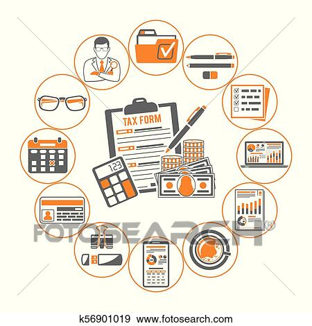 auditing tax process calculation business accounting infographics with two color icons in flat style like calculator auditor financial reports and tax