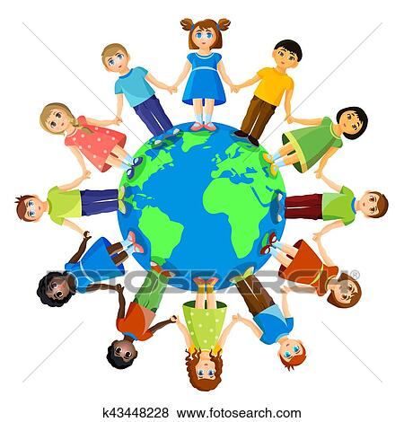 Different Children Standing Around Earth Planet Friendship And International Relationships Clip Art K43448228 Fotosearch