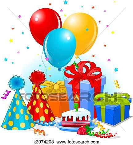 Clipart Geburtstag Geschenke Und Deko K3974203 Suche Clip Art