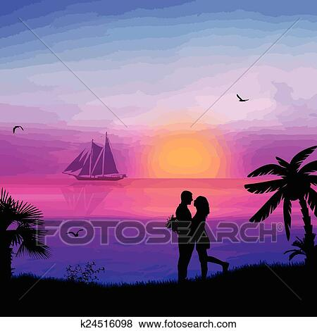Romantische Paare, Die Am Strand In Schöne Seenlandschaft Bei  Sonnenuntergang In Der Nähe Von Meer Lizenzfrei Nutzbare Vektorgrafiken, Clip  Arts, Illustrationen. Image 35568176.