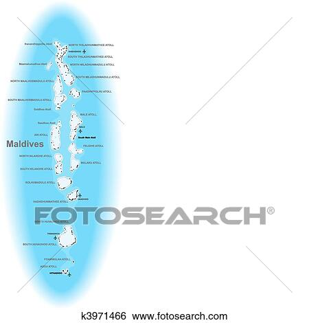 Clip Art of Maldives map k3971466 - Search Clipart, Illustration ...