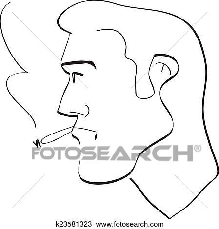 Cigarette Caricature clipart of mans profile with cigarette caricature comics k23581323