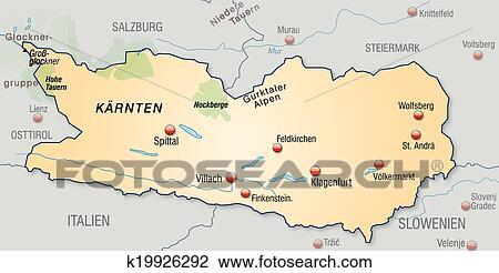 Map Of Kaernten Clipart K19926292 Fotosearch