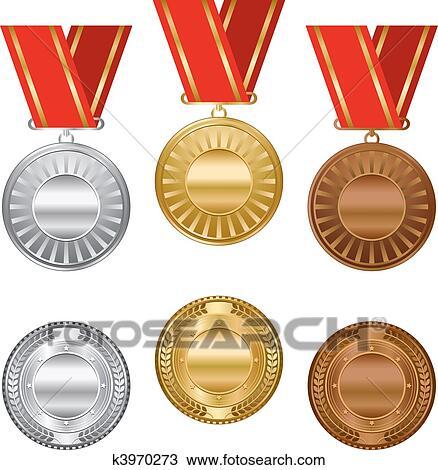 Clipart   Oro, Argento, E, Bronzo, Premio, Medaglie