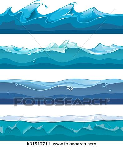 Seamless Ocean Sea Water Waves Vector Backgrounds Set For Ui Game In Cartoon Design Style Clipart