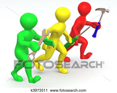 Clipart Of Three Man With Tools Maintenance K3973311 Search Clip