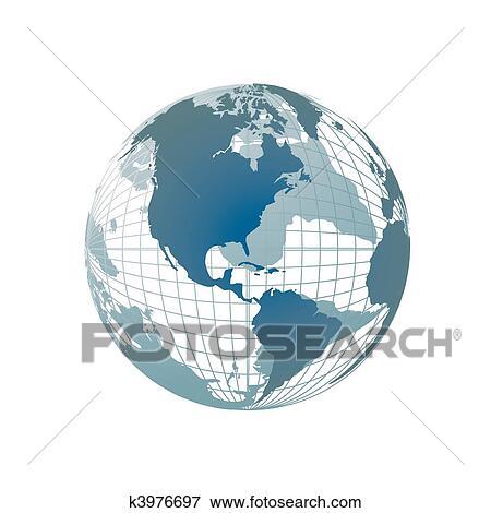 World Map 3d View.Clip Art Of World Map 3d Globe K3976697 Search Clipart