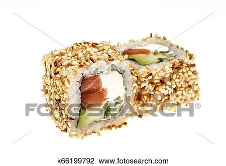 Alaska Roll Sushi With Cream Cheese Avocado Crab Meat And Cucumber Sprinkled With Roasted Sesame Seeds Stock Image