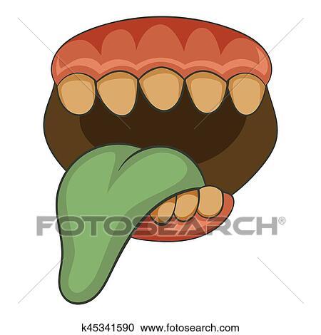 Aperto zombie bocca con lingua icona cartone animato stile