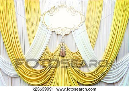 blanc, et, or, rideau, toile de fond, fond banque d'image