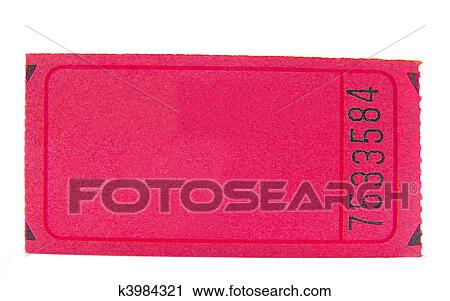 Stock Photography Of Blank Pink Ticket Stub Closeup Isolated On
