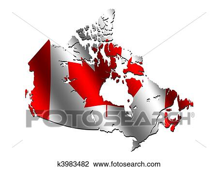Canada Map Flag.Clip Art Of Canada Map Flag K3983482 Search Clipart Illustration