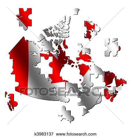 Canada Map Flag.Stock Illustration Of Canada Map Flag Jigsaw K3983137 Search Eps