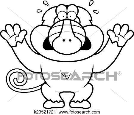 Clipart Of Cartoon Baboon Panicking K23521721