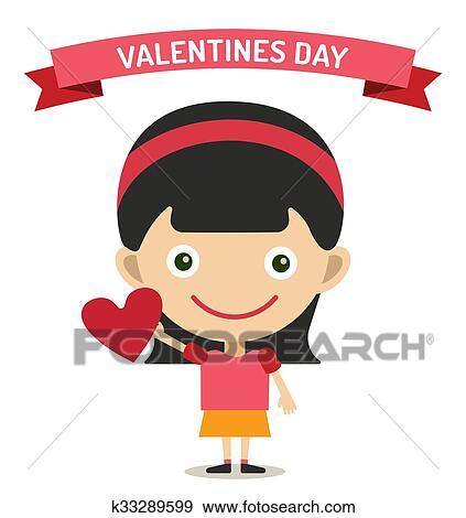 Clip Art Of Cute Cartoon Girl With Heart Vector Illustration