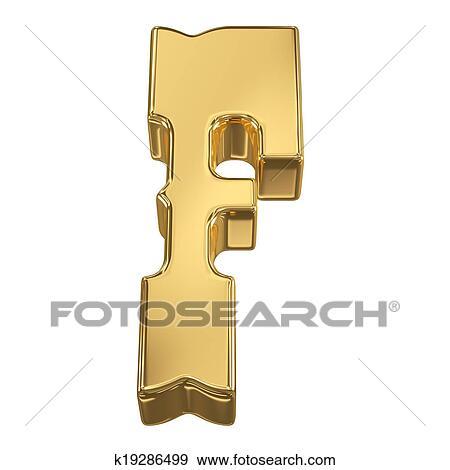 Colección de ilustraciones - f de carta, de, oro, sólido, alfabeto ...