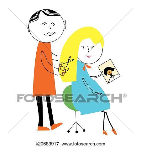 Friseur Und Frau Karikatur Lustig Szene Abbildung Clip Art