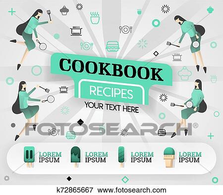 Green vector illustration concept. cookbook recipes recipes
