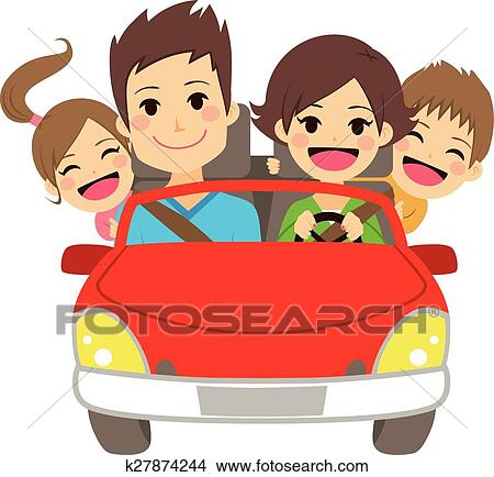 Happy Family Car Clipart   k27874244   FotosearchFamily Car Clipart