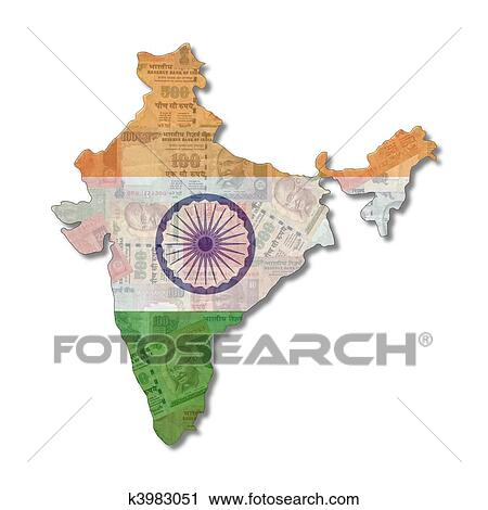 India Map Flag.Clipart Of India Map Flag With Rupees K3983051 Search Clip Art