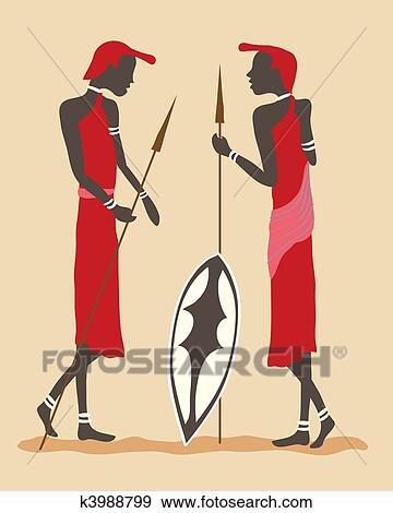 Masai warriors Stock Illustration