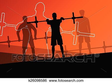 Clip Art Of Men Crossfit Weight Lifting Sport K26098586