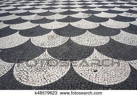 Tegels Met Motief : Stock foto mozaïek tegels bestrating motieven in funchal