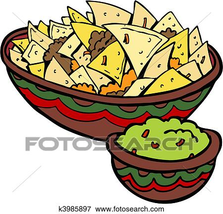 clip art of nachos tortilla chips k3985897 search clipart rh fotosearch com Cartoon Nachos Beef Nachos Clip Art