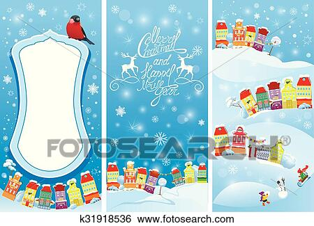 clip art set of vertical banners with small fairy town on light blue sky background