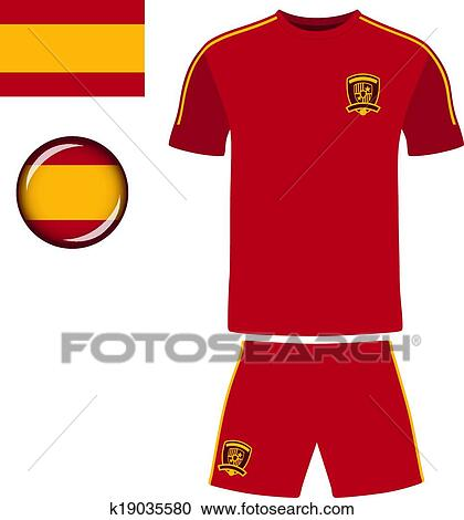 24cb0d84431 Clipart of Spain Football Jersey k19035580 - Search Clip Art ...