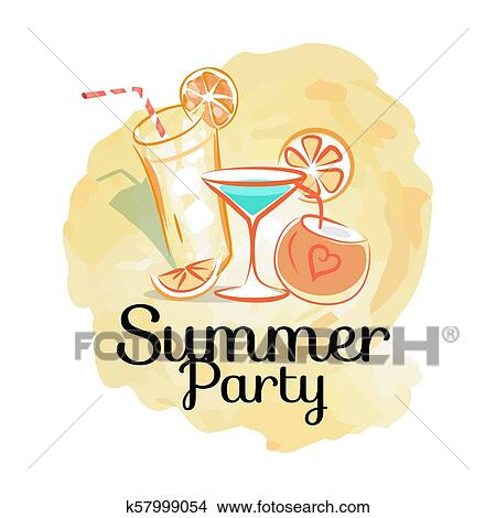 Summer Party Poster With Cocktails Invitation Card Clipart