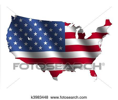 Stock Illustration of USA map flag k3983448 - Search EPS Clip Art ...