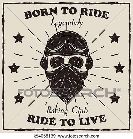 Vintage Motorcycle T Shirt Vector Grunge Illustration Clip Art