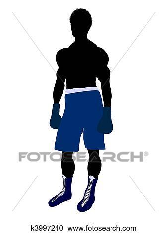 アフリカ系アメリカ人の男性 ボクサー イラスト シルエット