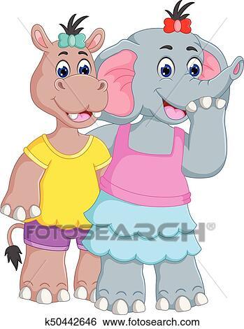 Clip Art Amistad De Elefante Y Hipopótamo Caricatura