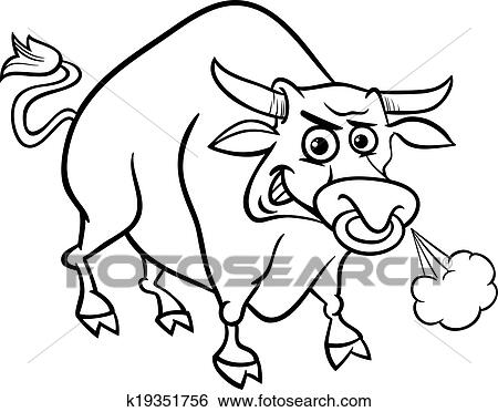 Clip Art Of Bull Farm Animal Coloring Page K19351756