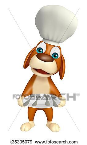 Cane cartone animato characte con cappello chef e piatto piano